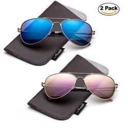 Newbee Fashion 2 Pack -Polarized Kids Teens Juniors Avaitor Polarized Sunglasses High Quality Duralble Staniless Steel Frame Spring Hinge Kids Polarized Sunglasses for Girls & Boys UV Protection
