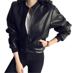 Female 2021 New Design Spring Autumn PU Leather Jacket Faux Soft Jacket Slim Black Rivet Zipper Motorcycle Black Jackets