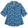 Coral Bay Womens Knit To Fit Denim Floral Button Down Top