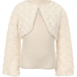Big Girls Cute Fluffy Chenille Fur Flower Girls Bolero Jacket Coat (10GG7) Ivory 10