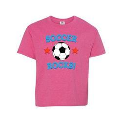 Inktastic Soccer Rocks Coach Player Gift Teen Short Sleeve T-Shirt Unisex Retro Heather Pink XL