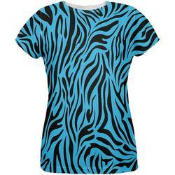 Zebra Print Blue All Over Womens T-Shirt - Large