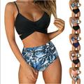 2 Piece Women Criss Cross High Waisted String Floral Printed Bathing Swimsuit Bikini Bathing Suits Summer Beach