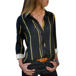 Dokotoo Womens Long Sleeve Shirts Button Up Color Block Stripe Blouses Casual Tops Size Medium US 8-10