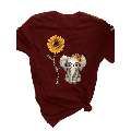 Women Short Sleeve Round Collar Blouse Cute Small Elephant Sunflower Graphic Printed Casual T-Shirts Women Tops Plus Size S-5Xl