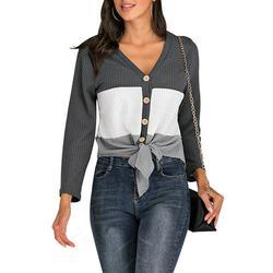 Stripe Colorblock T Shirt for Women Casual Long Sleeve Button Knitwear Colorblock Bandage Top Tee Shirts