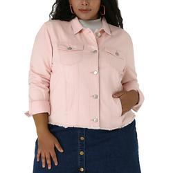 Women's Plus Size Washed Front Frayed Classic Denim Jacket