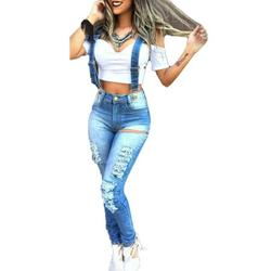 Sexy Dance Women Denim Pants Overall Casual Strappy Ripped Jeans Jumpsuit Slim Fit Jeans Trousers Playsuit