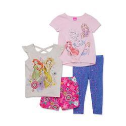 Disney Princess Toddler Girl T-shirts, Shorts & Leggings, 4 pc Outfit Set (2T-4T)