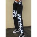 Women Patchwork Pants High Waist Slim Denim Jeans Y2k Vintage Trousers