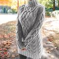 SHIYAO Women's Pullover Sweaters Women Sweaters Sweater Women's Knit Sweater Autumn and Winter Thickened Two Lapel Retro Thick Thread Twist Dress