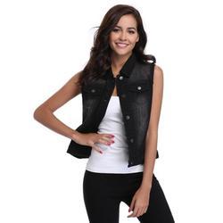 MISS MOLY Denim Vest For Women Denim Jean jackets Washed Sleeveless w Pockets Black XS