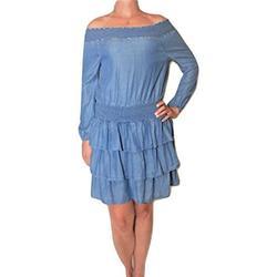 Michael Michael Kors Ruffled Off-The-Shoulder Tiered Dress, Light Cadet Wash (X-Small) Blue