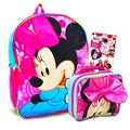 """Disney Minnie Mouse Backpack with Lunch Box for Girls Bundle ~ Deluxe 16"""" Minnie Bag, Insulated Lunch Bag with Bow, and Minnie Mouse Stickers (Minnie Mouse School Supplies)"""