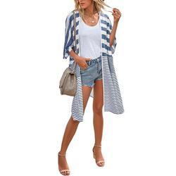 Women Casual Loose Striped Color Block Cardigan Long Sleeve Cardigan Lightweight Long Open Front Tunic Blouse Tops Cardigan Coat Outwear