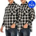 LELINTA 2 Pack Men's Dress Shirts Slim Fit Cotton Long Sleeve Plaid Shirt Casual Button Down Shirts for men
