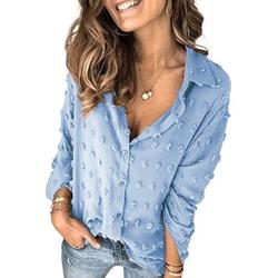 Dokotoo Womens Pompom Button Down Shirt Casual Long Sleeve Blouse Tops Size Medium US 8-10