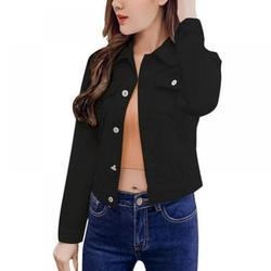 Wuffmeow Boyfriend Jean Jacket Women Denim Jackets Vintage Long Sleeve Jacket Casual Slim Coat