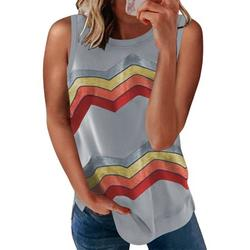 Dokotoo Womens Camisole for Women Plus Size Color Block Side Split Striped Print Shirts Casual Loose T-Shirt