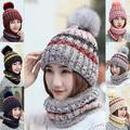 Womens Winter Knitted Beanie Hat With Faux Fur Pom Cap Scarf Hats
