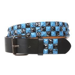 "Snap On 1 1/2"" Blue & Black Checkerboard Punk Rock Studded Belt"