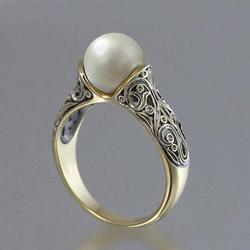New Exquisite Vintage Inlaid Pearl Ring Gold Plated Ladies Ring Jewelry Wedding Ring Engagement Ring Rings for Women
