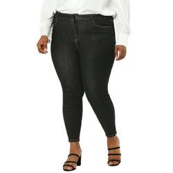 Agnes Orinda Junior's Plus Size Jeans Denim Stretch Work Contrast Color Line Skinny Mid Rise Jeans