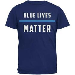 Police Blue Lives Matter Thin Blue Line Metro Blue Adult T-Shirt - X-Large