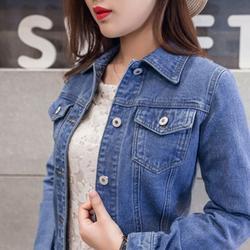 Boyfriend Jean Jacket Women Denim Jackets Vintage Long Sleeve Jacket Casual Slim Coat Candy Color Bomber Jacket Blue L