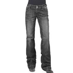 Women's Bell-Bottoms Jean Print Pocket Wide Leg High Waist Long Pants Flare Skinny Denim Jean