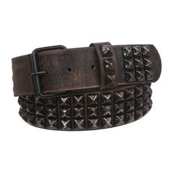 Snap On Oil Tanned Three Row Punk Rock Star Distressed Black Studded Full Grain Cowhide Leather Belt