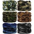 6PCS Headwear, Headband Scarf Bandanna Headwrap Mask Neckwarmer & More 12-in-1 Multifunctional Stretchable Sport & Casual (6PC.Camouflage Series.2)