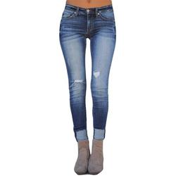Women Fashion Mid Waist Denim Jeans Fashion Stretch Skinny Rolled Cuff Denim Pants Jeans Trouser Plus Size S-5XL