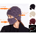 Exclusives Women Snow Hats with Face Protection, Black Withe Red Purple Men Winter Beanie Hat with Warm Fleece Lined, Thick Slouchy Knit Skull Ski Cap