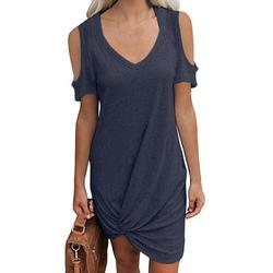Tuscom Womens Casual Round Neck Off Shoulder Short Sleeve Round Neck T Shirt Dresses Twist Front Knot Tunic Dress for Women