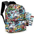 "Marvel Avengers Backpack for Boys Girls Kids - 16"" Marvel Comics Avengers School Backpack Bag Bundle with Stickers (Avengers School Supplies)"