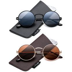 Retro Round Small 48mm Vintage Hippie Round Polaroid Sunglasses Driving Polarized Glasses Steampunk John Lennon Sunglasses-2 Pairs