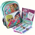 LOL Surprise 16 Inch Backpack with Coloring Paint Set and 4 pcs Light-up Snap Bracelets and 6-Color Pen Bundle LOL Backpacks for Girls LOL OMG LOL Remix