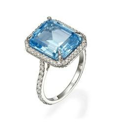 New Trendy Natural Square Aquamarine 925 Sterling Silver Diamond Rings Women Gemstone Ring for Jewelry Blue Sapphire Ring Jewelry