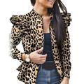 ESSEN Coat Women Stylish Long Sleeve Leopard Camouflage Zip Ruffled Hem Slim Jacket Coat