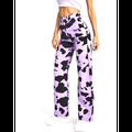 Women's Wide Leg Jeans Cow Pattern Printing High-waist Denim Pants with Pocket