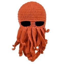 Octopus Cthulhu Beard Hat Beanie Hat Knit Hat Winter Warm Octopus Hat Windproof Funny Men Women Hat Cap Wind Ski Mask in Orange