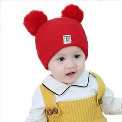 Baby Hat Wool Hat Children's Thick Hat Warm Earmuff Winter Warm Knit Hat Infant Toddler Cap Kids Pom Pom Hat