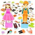 Zoey & Joey Magnetic Dress-up Playset – Mix-and-Match 65 Pieces including Clothes, Hats, Accessories - Wooden Wonders Toy, ZOEY & JOEY DRESS-UP.., By Imagination Generation