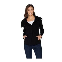 """Denim & Co """"As Is"""" Studio Soft French Terry Long Sleeve Moto Jacket, X-Large, Black"""