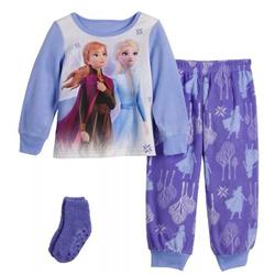 Disney Frozen Toddler Pajama Set for Girl Anna Elsa Fleece Pajama, With Matching Socks, Sizes 2T, 3T, 4T, 5T.