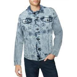X RAY Mens Denim Jacket Washed Casual Trucker Jean Jacket for Men, Light Denim - Ripped, Medium