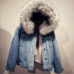 Womens Hooded Faux Fur Lined Warm Coats Parkas Outwear Winter Denim Jackets Sherpa Jackets