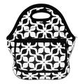 Wendana White & Black Geometric Pattern Waterproof Lunch Bag for Women fashion Reusable Insulated Lunch Boxes for School Work Office Picnic Travel Neoprene Lunch Tote with Side Pocket Zipper Closure