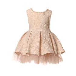 Little Girls Pink Pearl Stone Embossed Jacquard Pleated Flower Girl Dress Little Girls